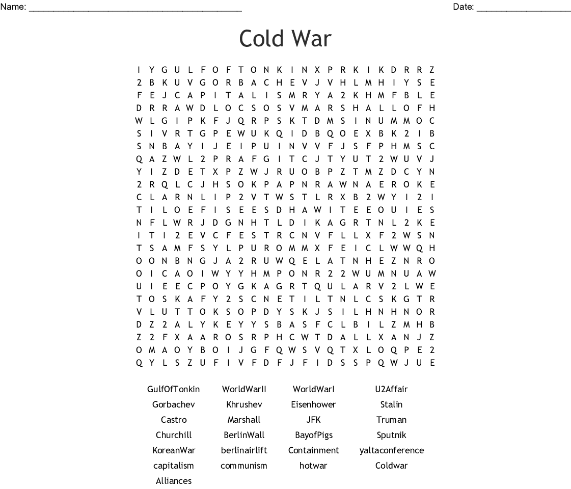 Cold War Conflicts Crossword Puzzle Answers
