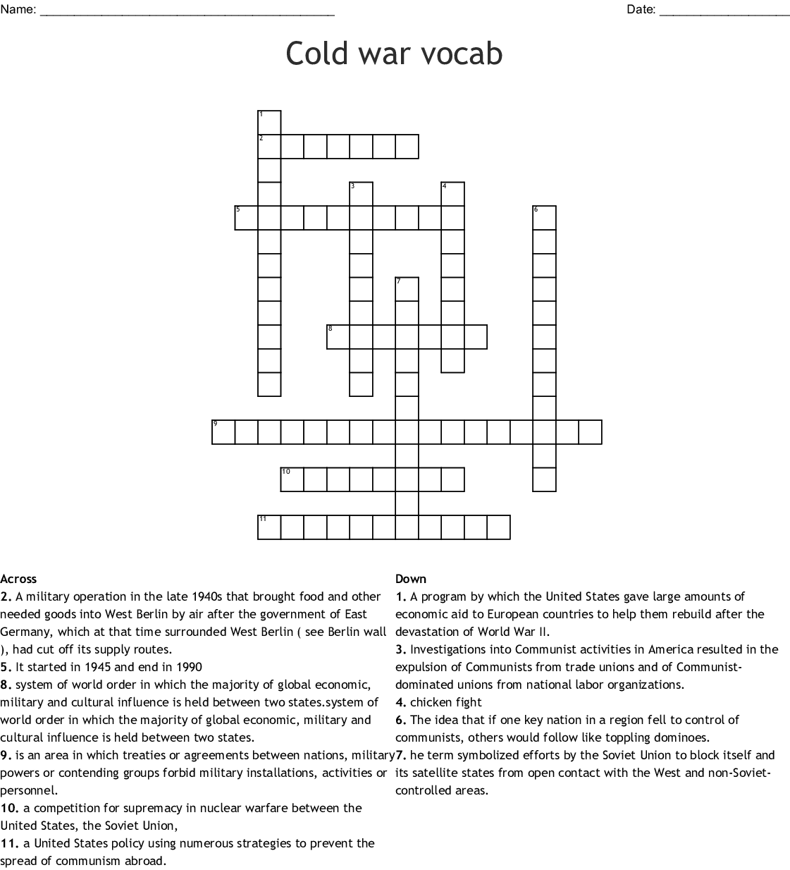 Cold War Vocabulary Worksheet Answers