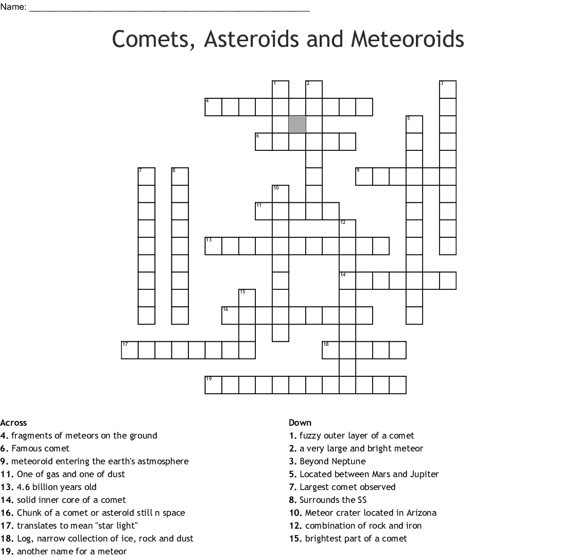 Comets Asteroids And Meteors Word Search