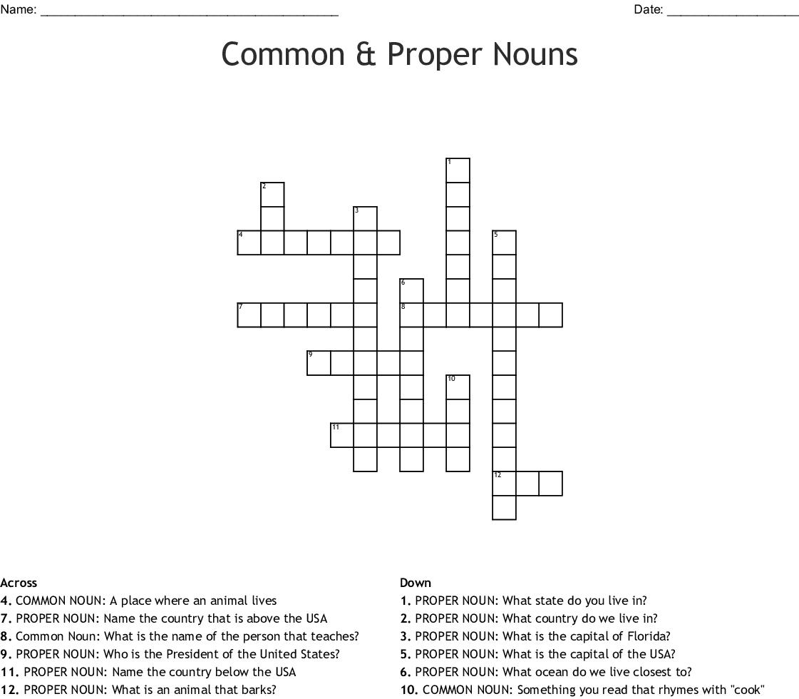 Common Amp Proper Nouns Crossword