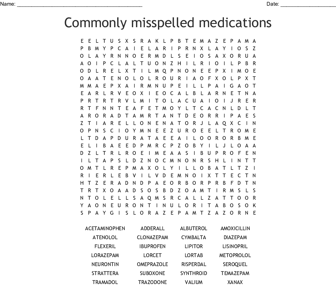 Psychotropic Medications Word Search
