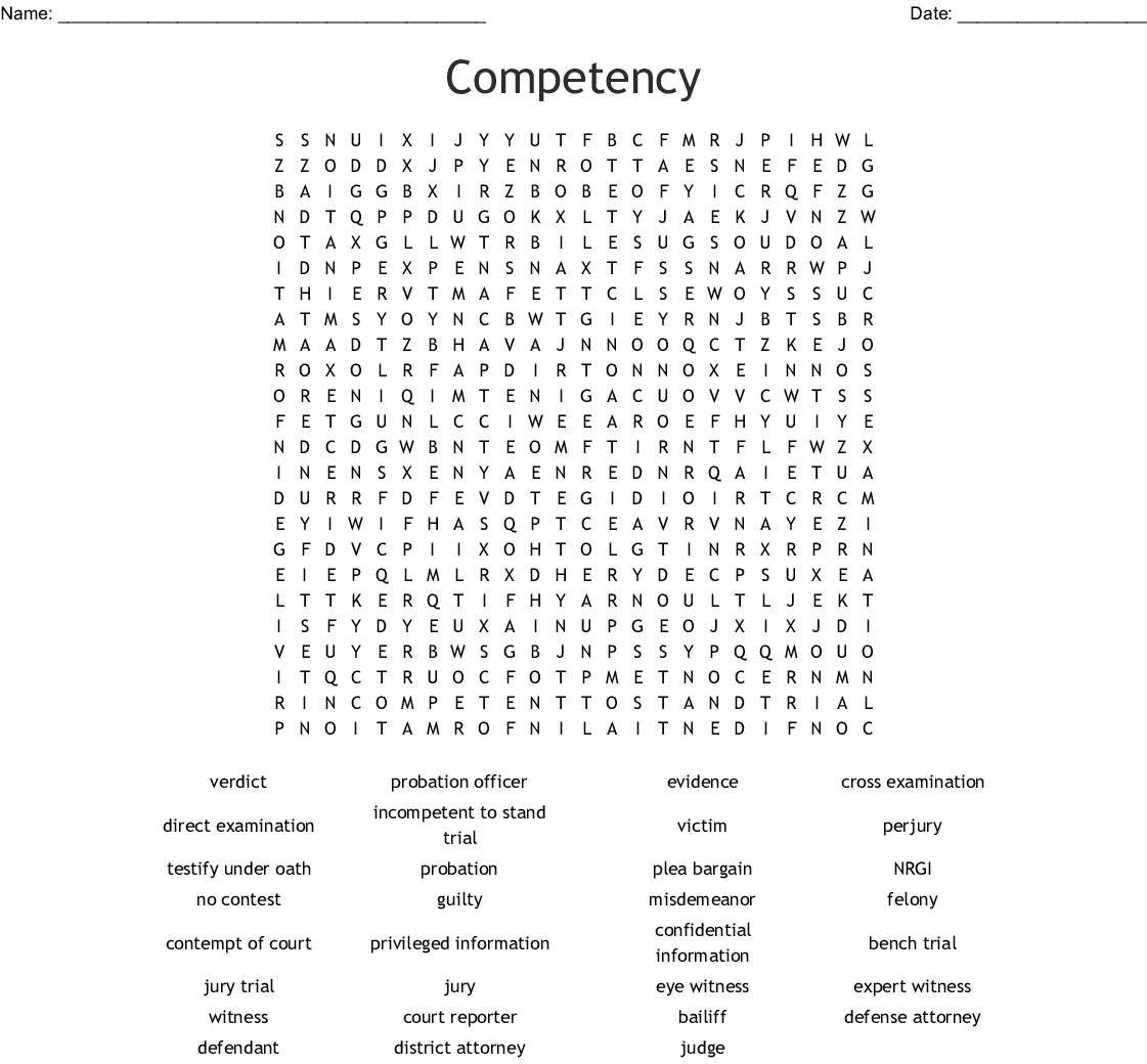Courtroom Vocabulary Crossword