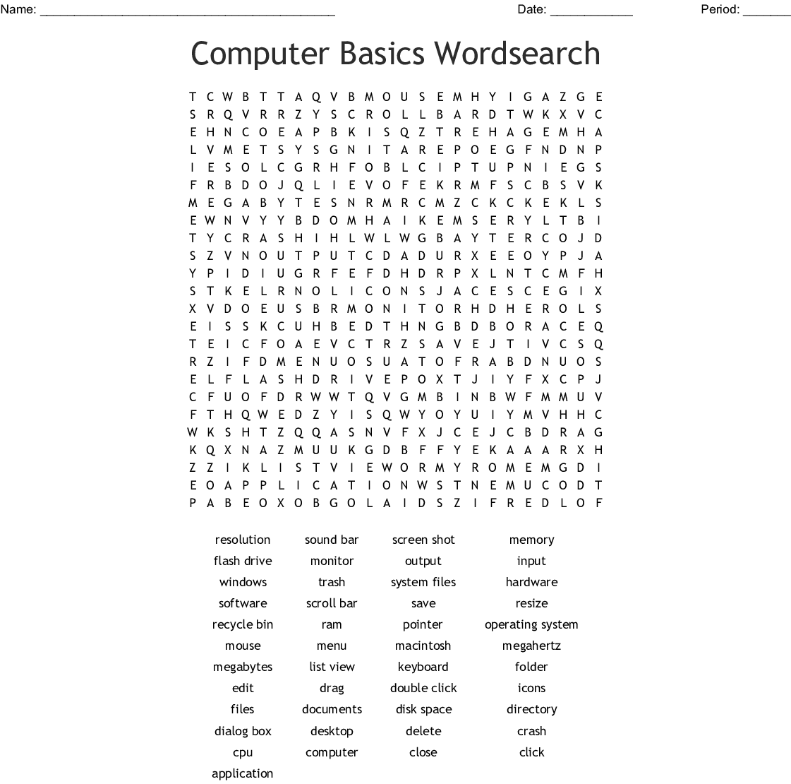 Computer Basics Wordsearch
