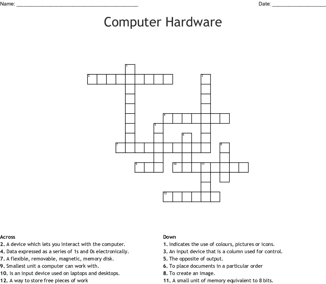 Computer Hardware Crossword