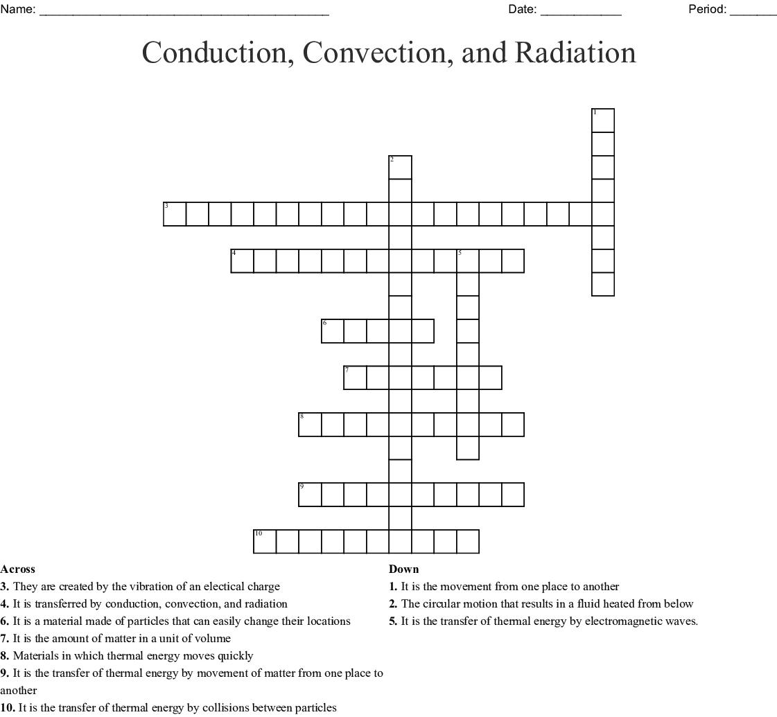 Conduction Convection Radiation Worksheet Answer Key
