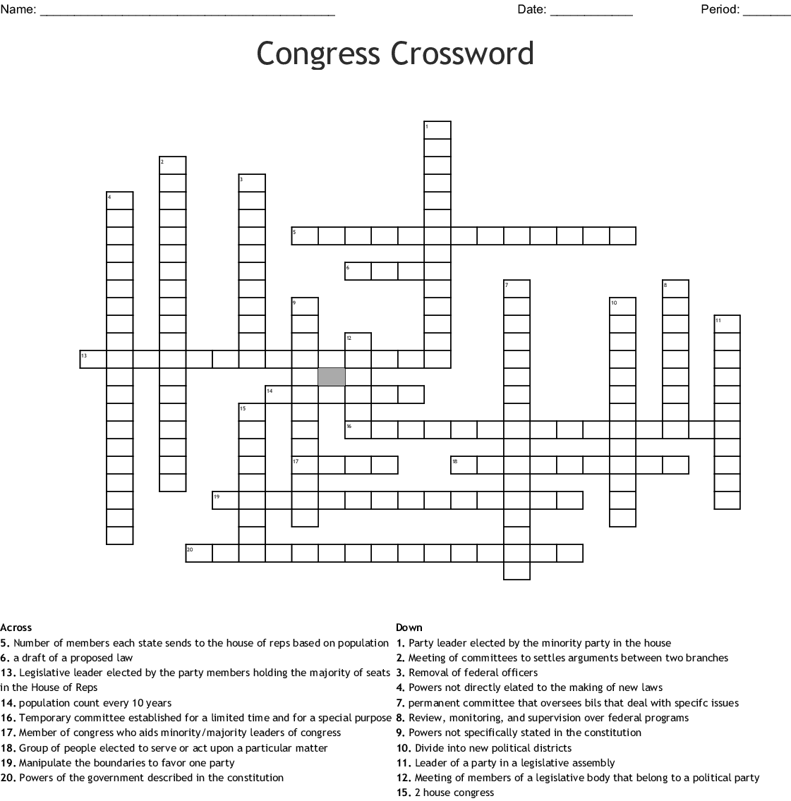 Congressional Leadership Worksheet Answers