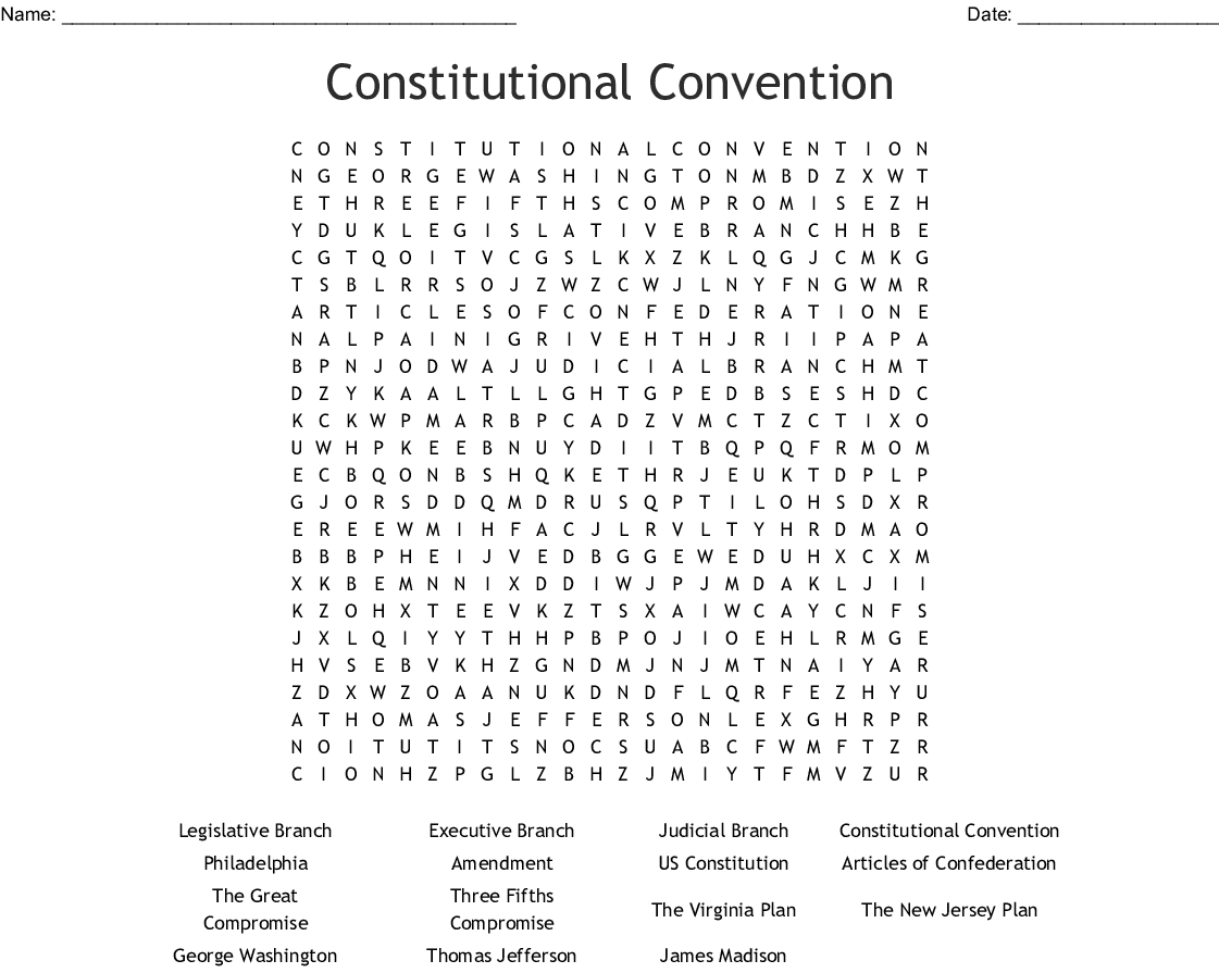 Constitution Word Search
