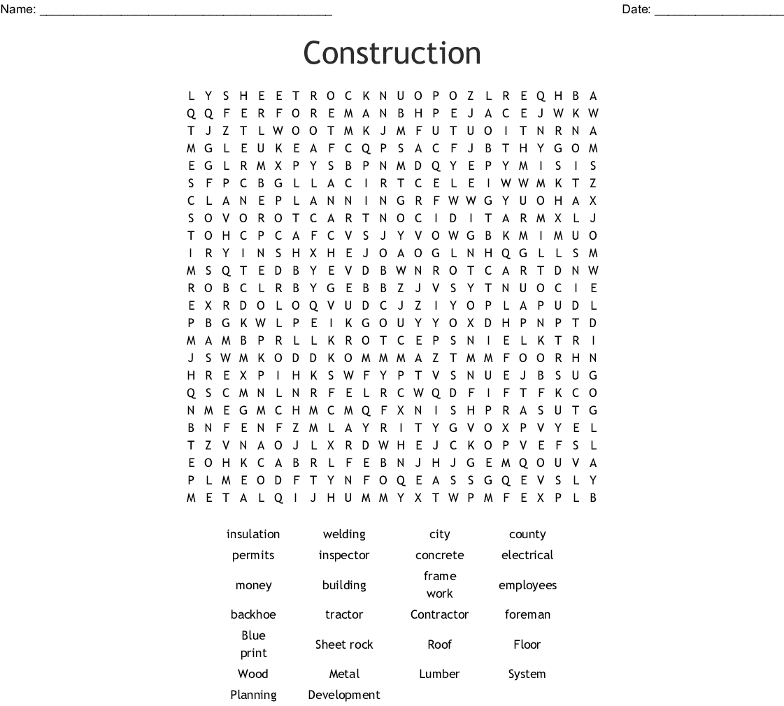 Construction Word Search