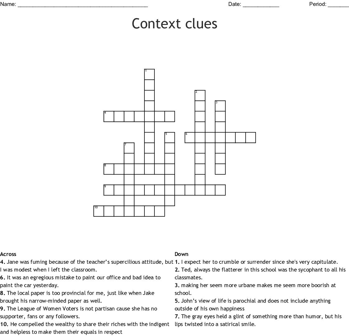 Context Clues Crossword
