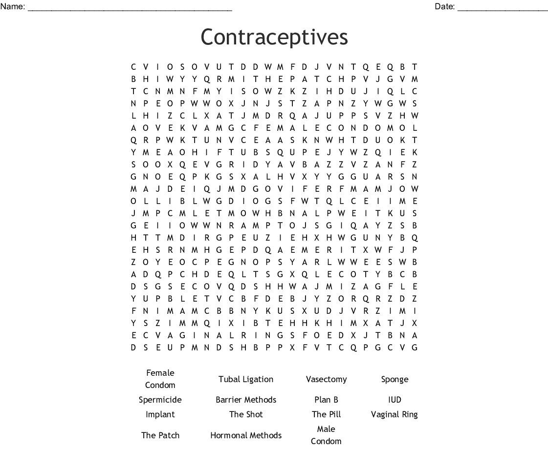 Contraceptives Word Search