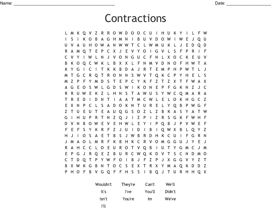 Contraction Word Find Word Search