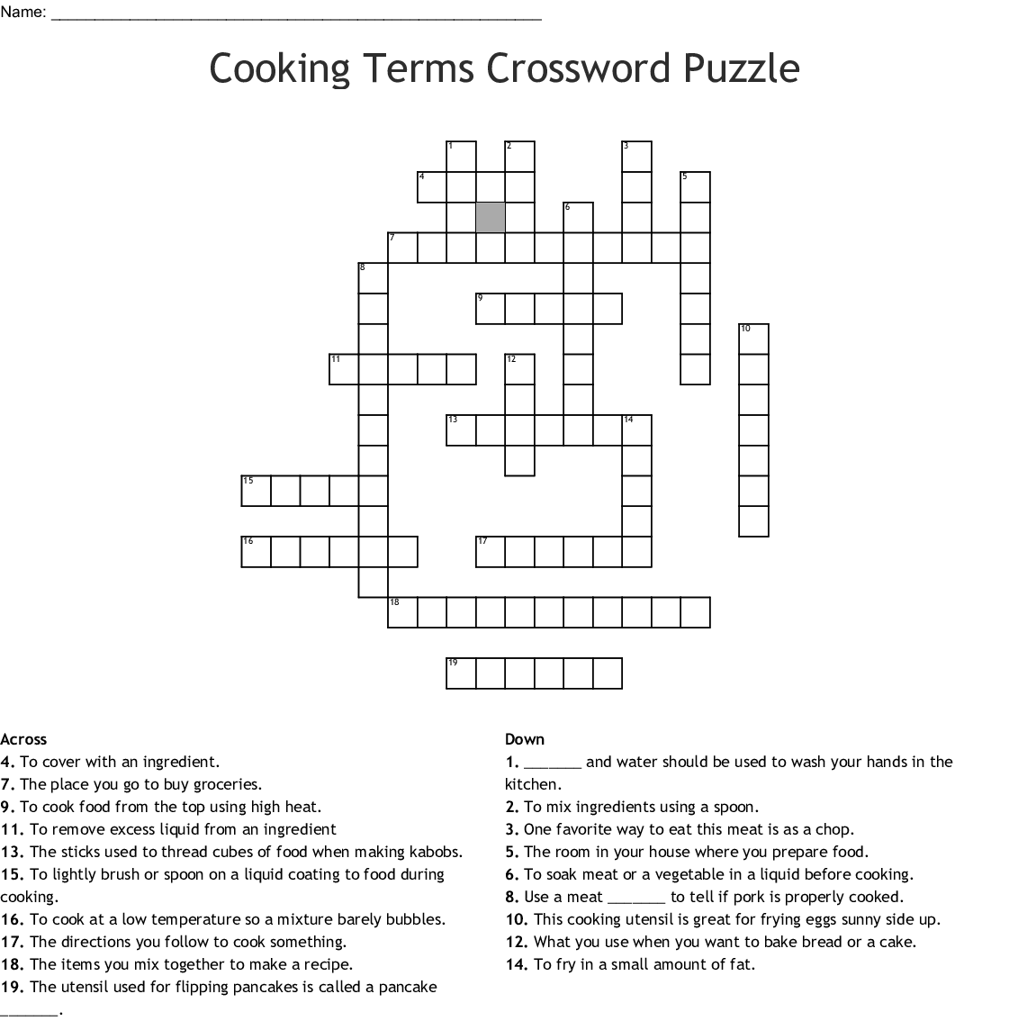 Cooking Terms Worksheet Answers