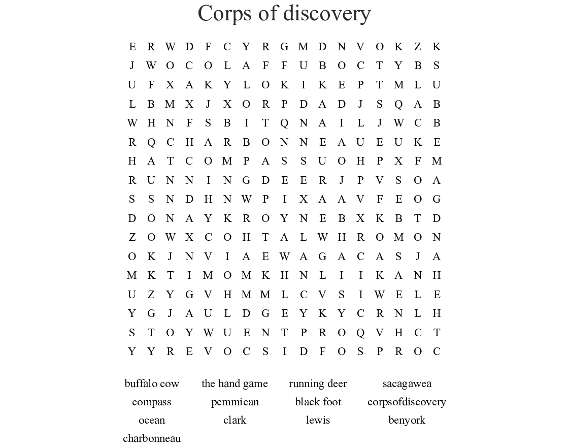 Corps Of Discovery Word Search
