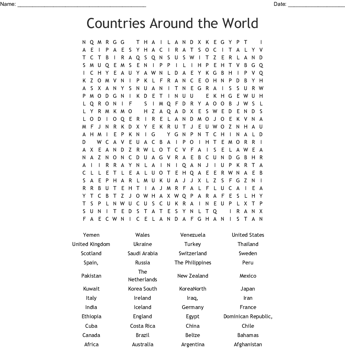 Travel And Tourism Word Search