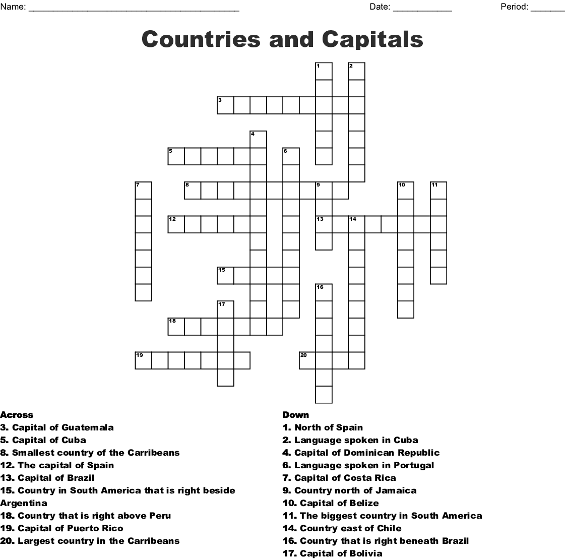 Countries And Capitals Crossword