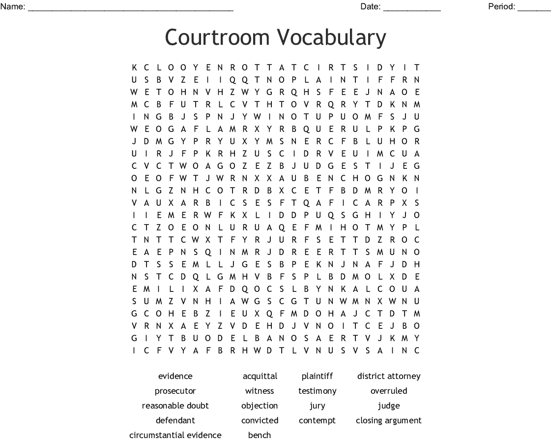Courtroom Vocabulary Word Search