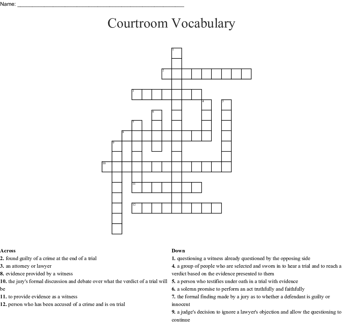 Competency Restoration Crossword
