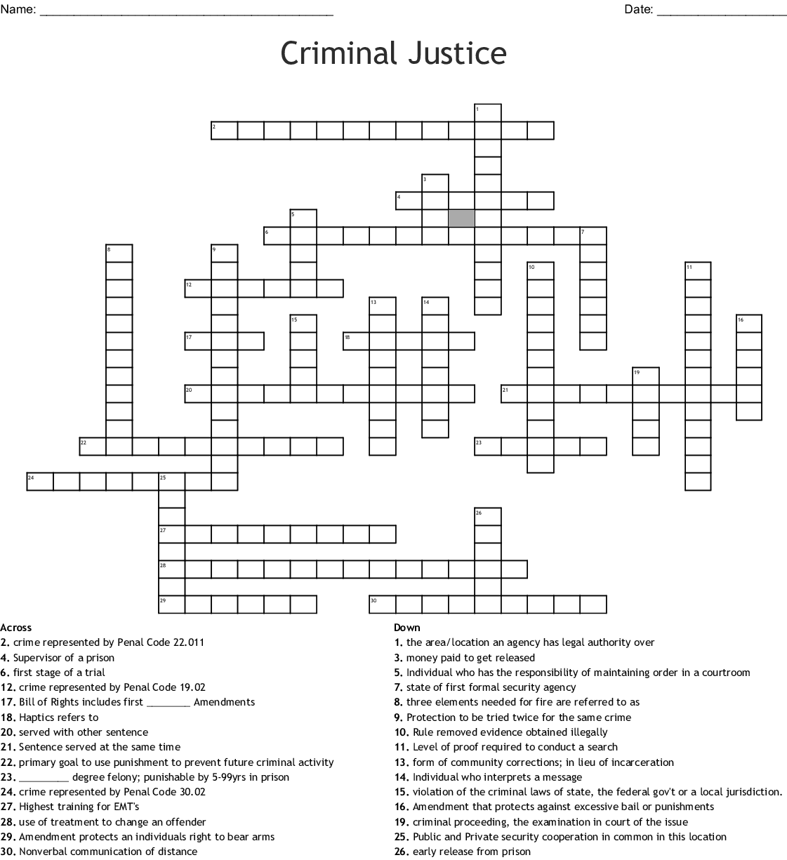 Criminal Justice Terms Word Search
