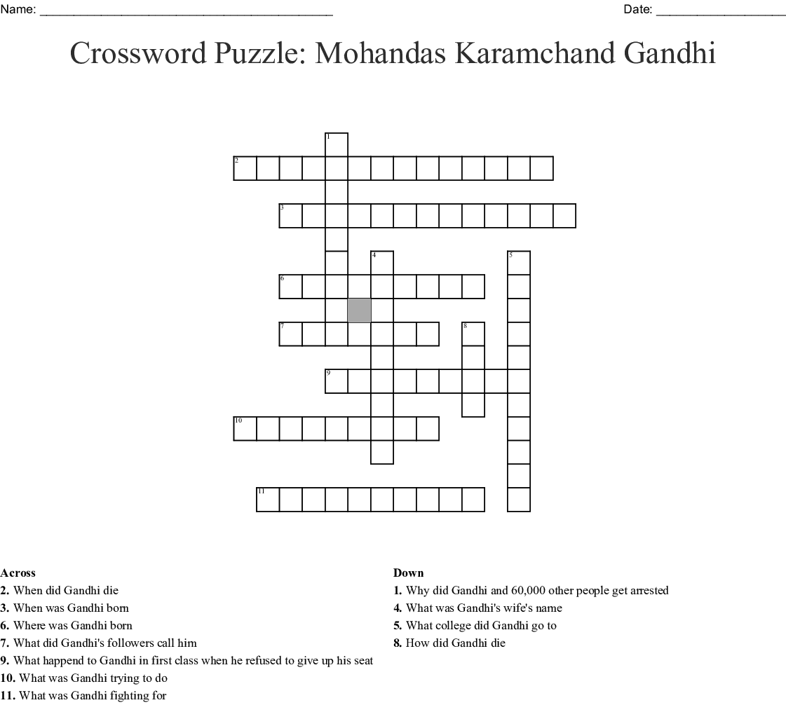 Mahatma Gandhi Crossword