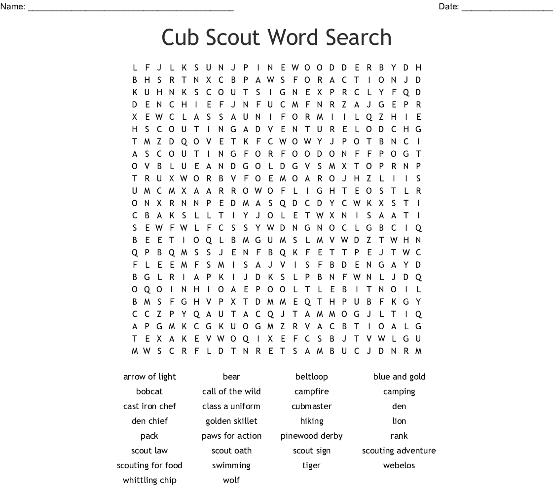 Cub Scout Word Search