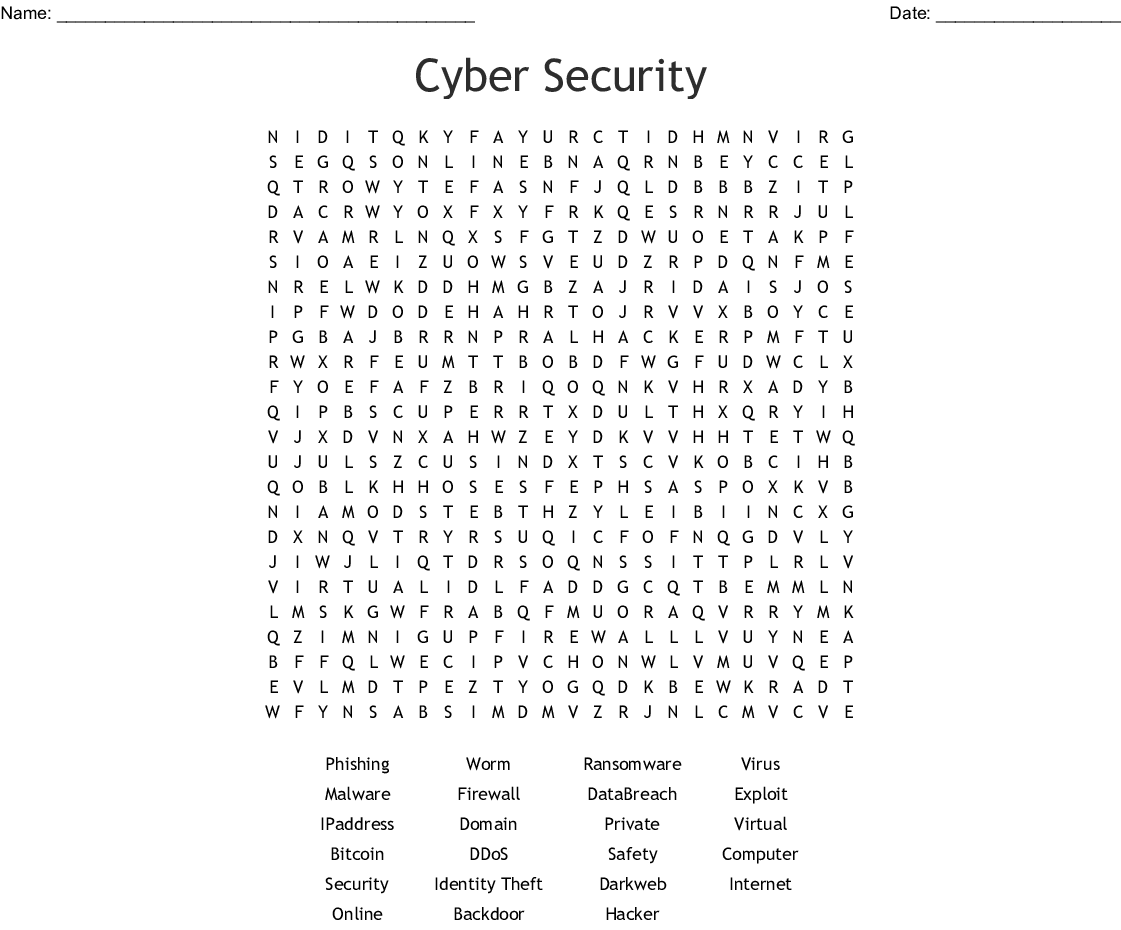 Cyber Security Word Search