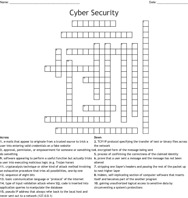 Cyber Security Crossword