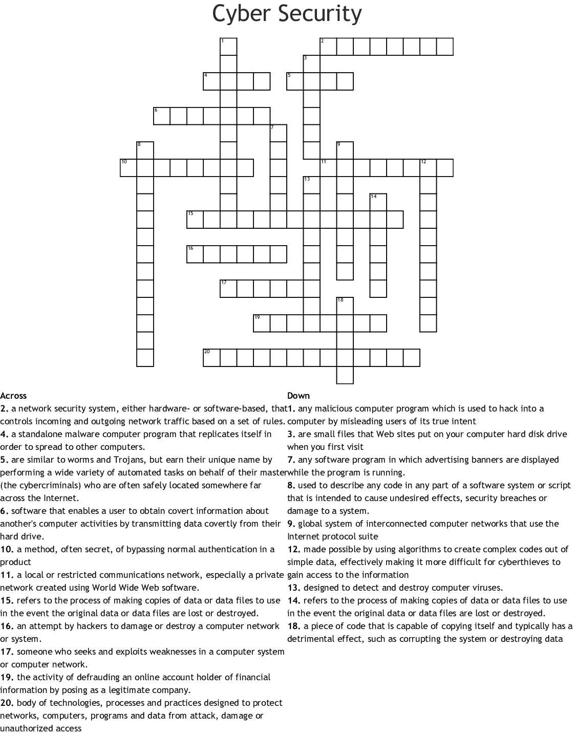 Computer Security Crosswords Word Searches Bingo Cards