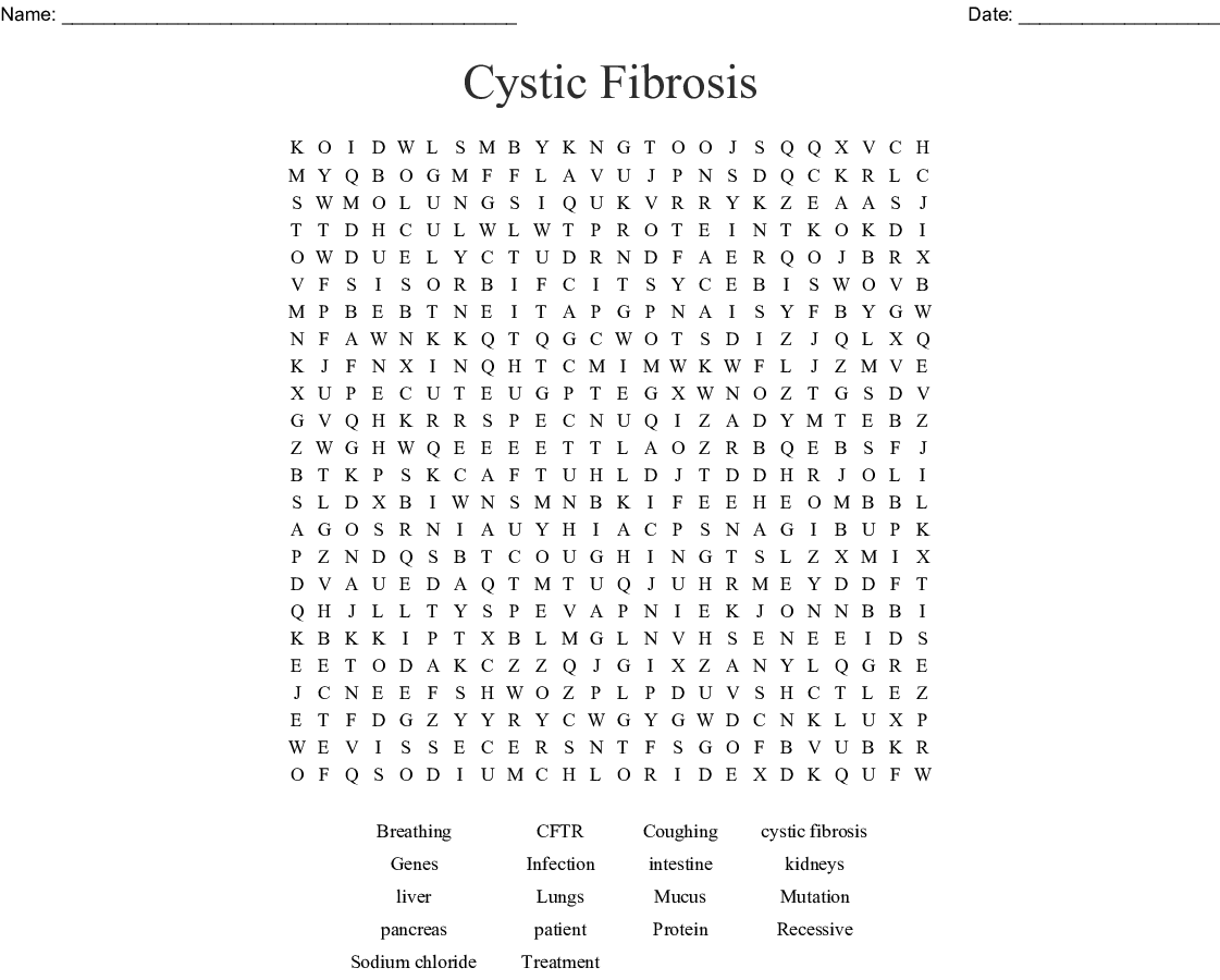 Cystic Fibrosis Word Search