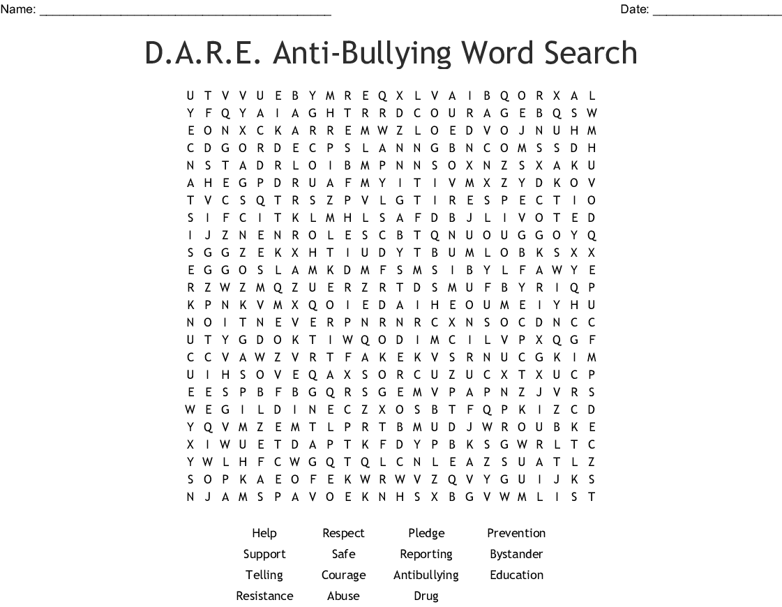 Anti Bullying Word Search