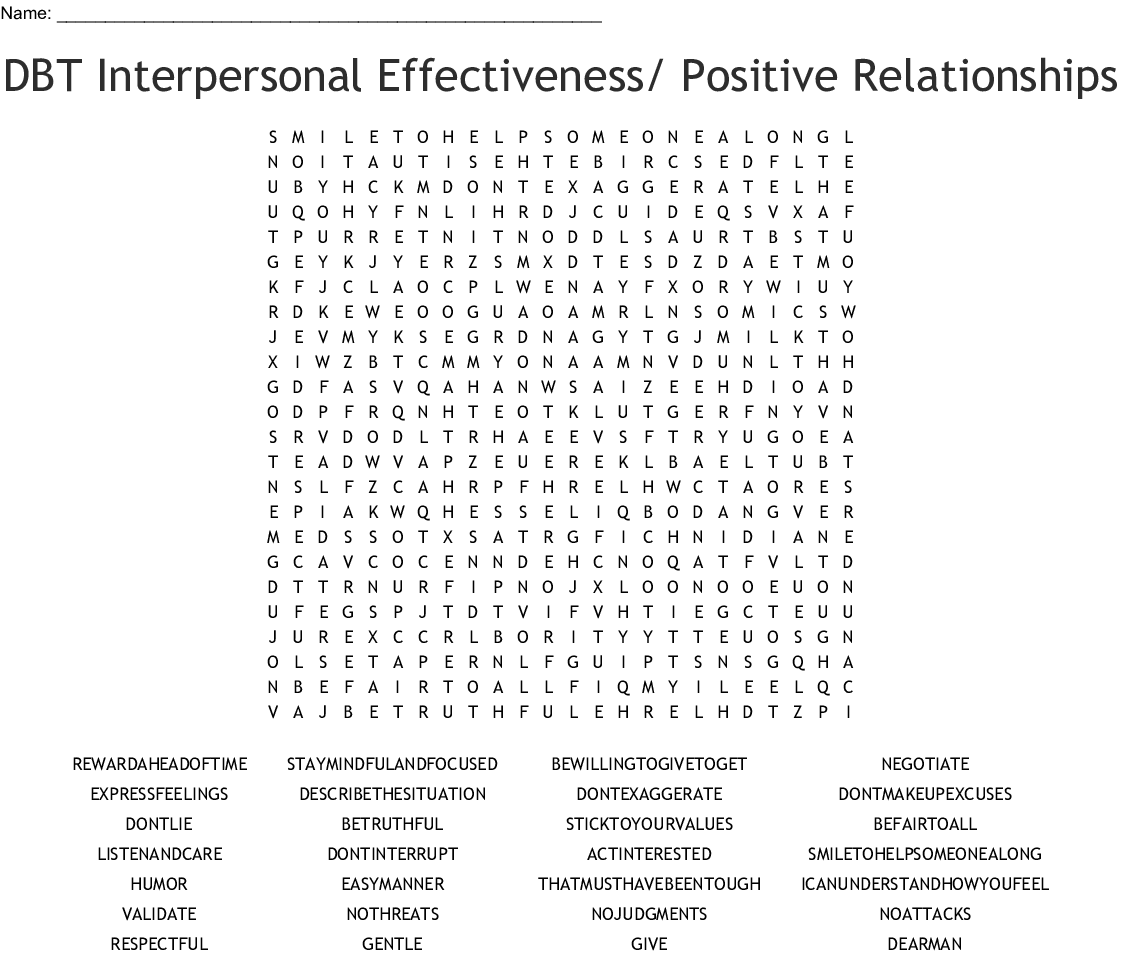 Dbt Interpersonal Effectiveness Positive Relationships Word Search