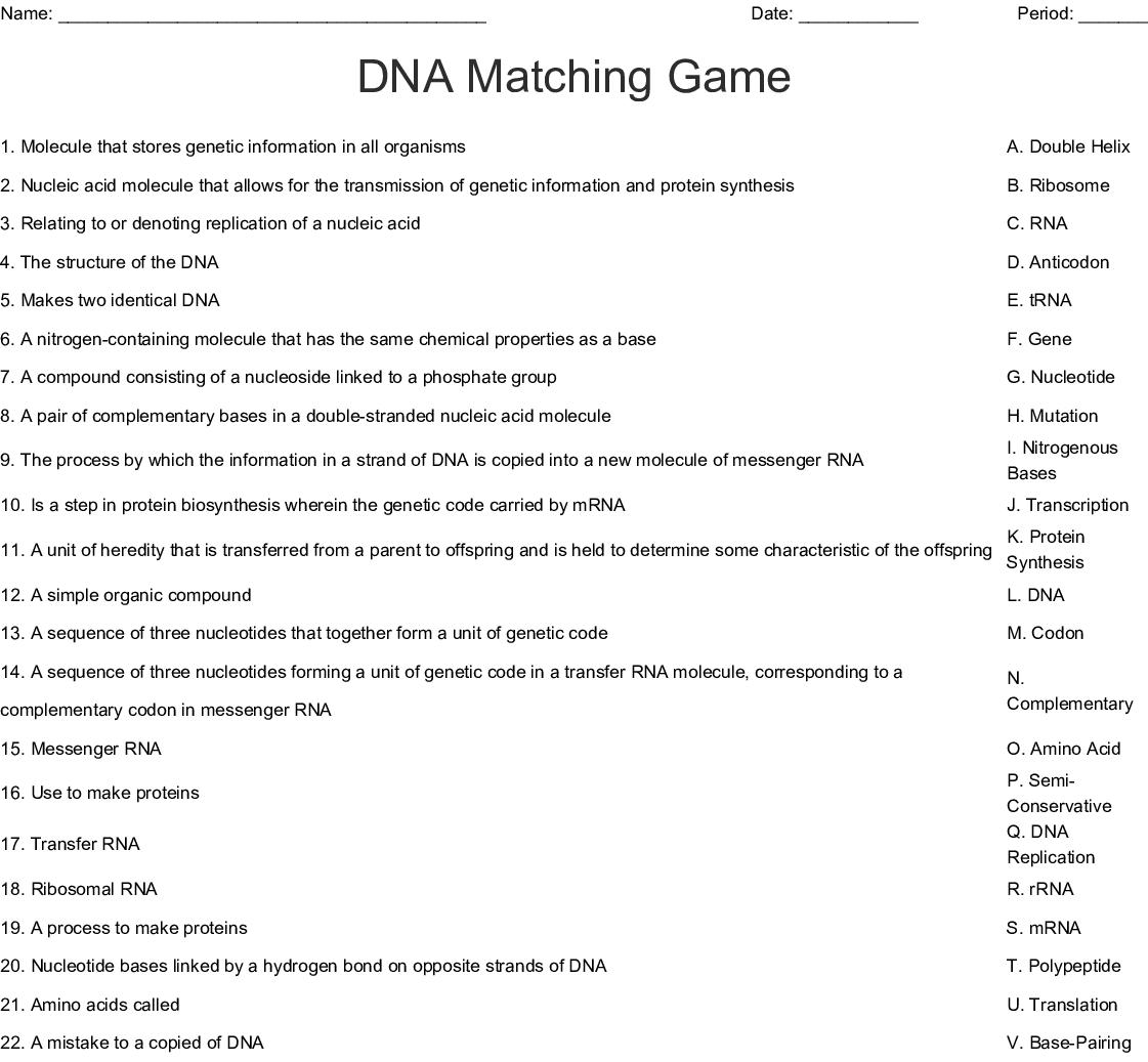 Dna Matching Game Worksheet