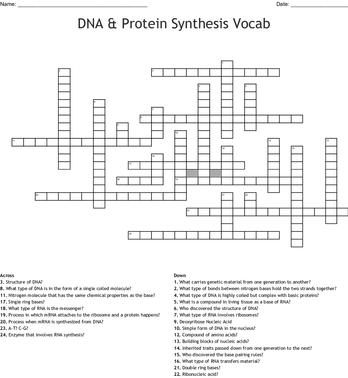 Nucleic Acid And Protein Synthesis Worksheet