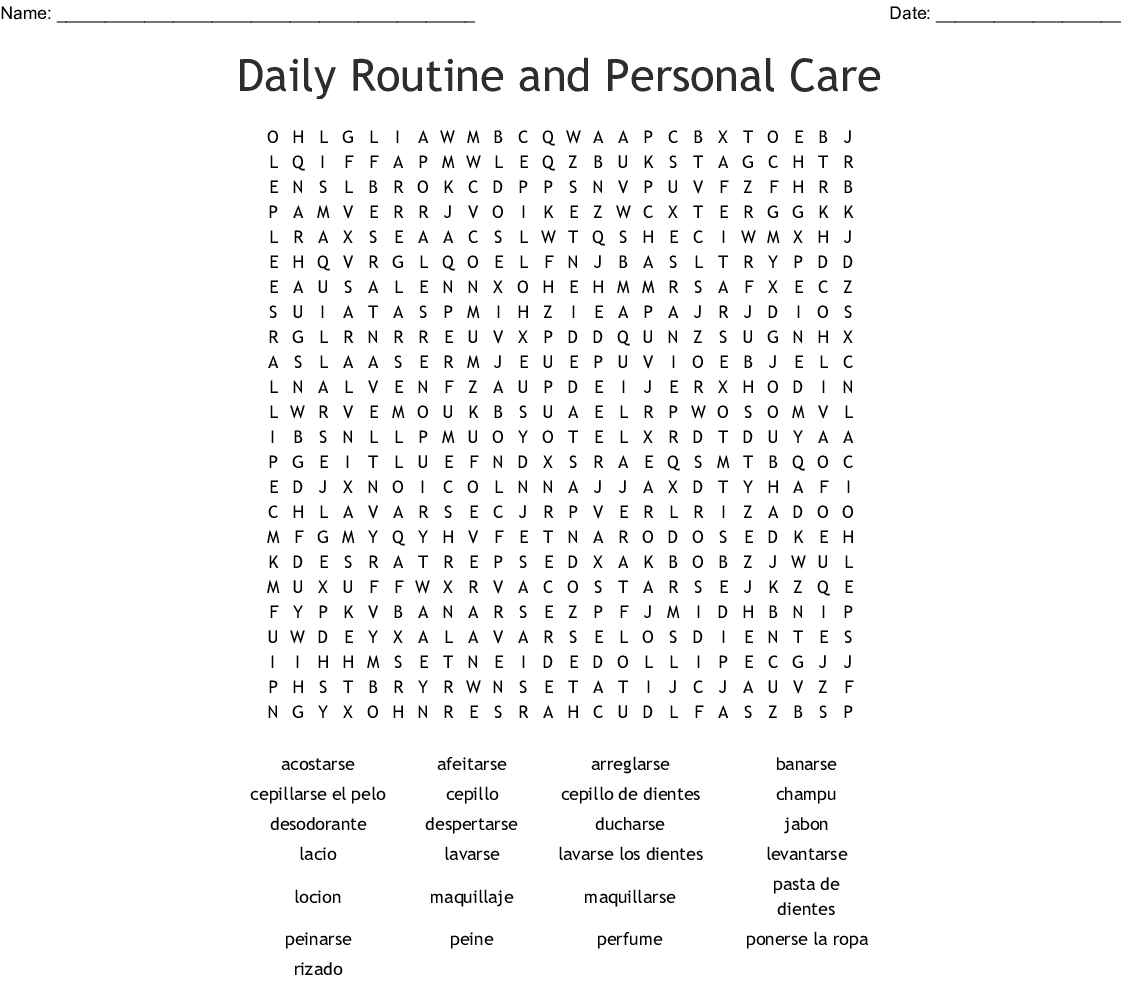 Daily Routine And Personal Care Word Search