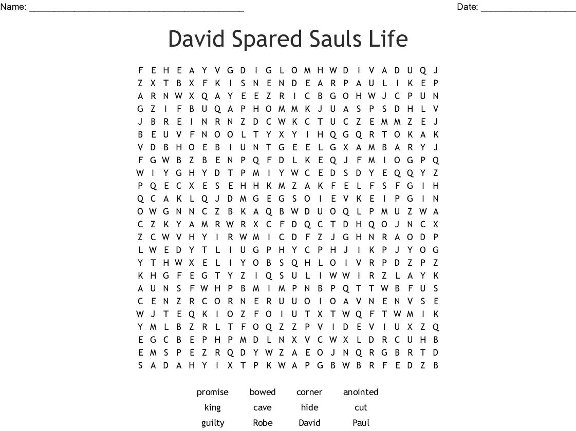 David And Jonathan Word Search