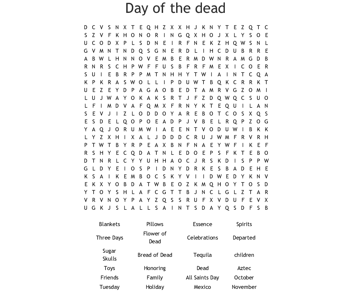 All Saints Day Word Search