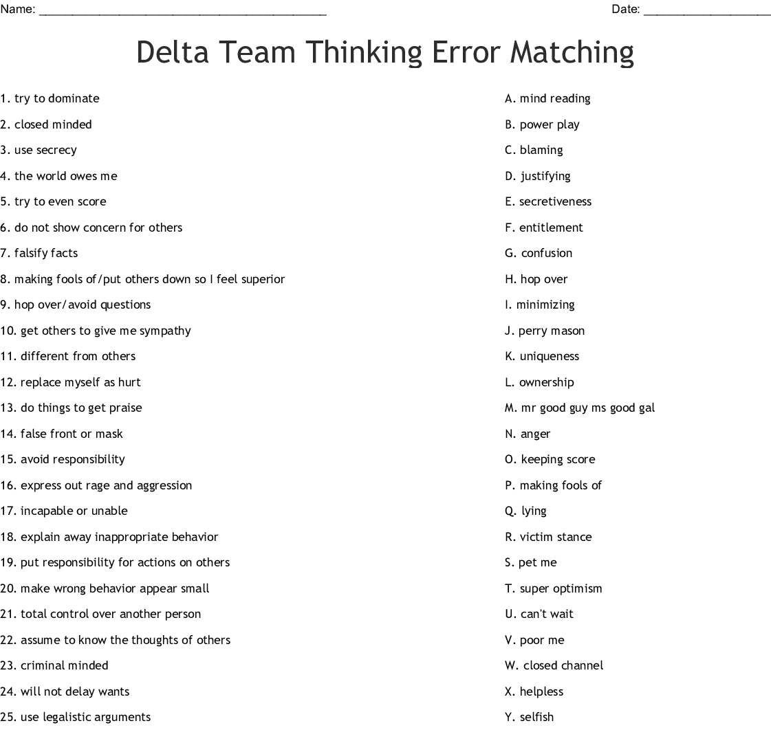 Delta Team Thinking Errors Word Search