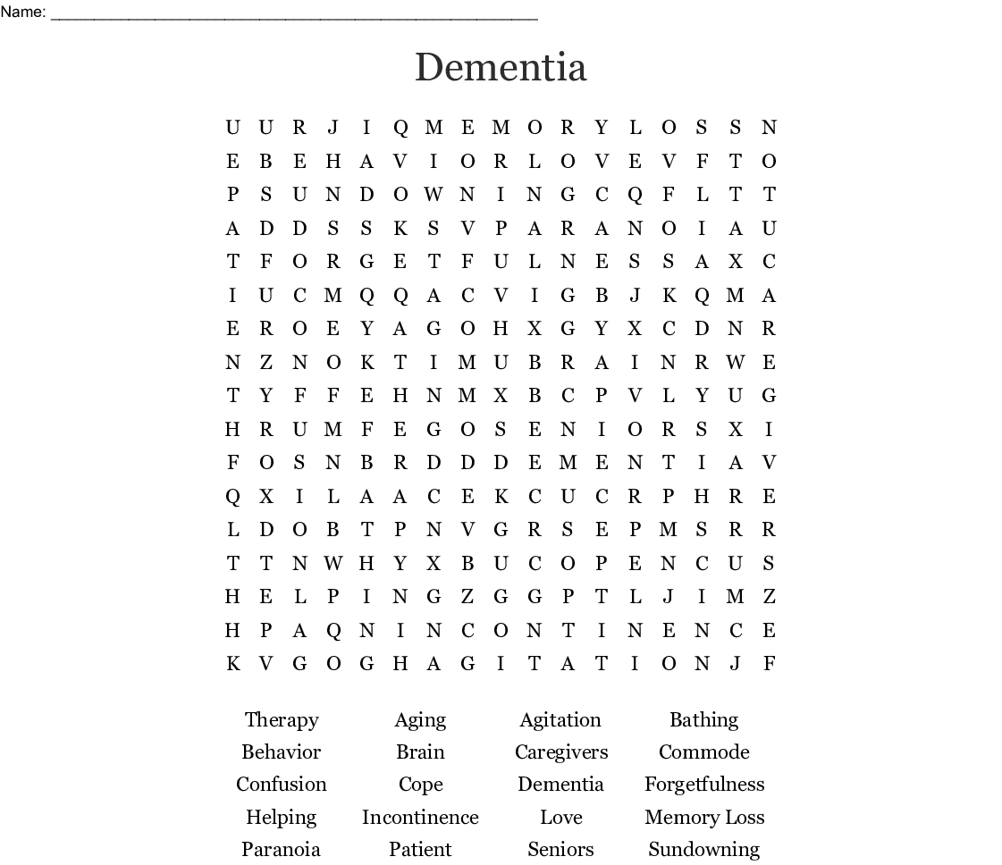 Dementia Word Search