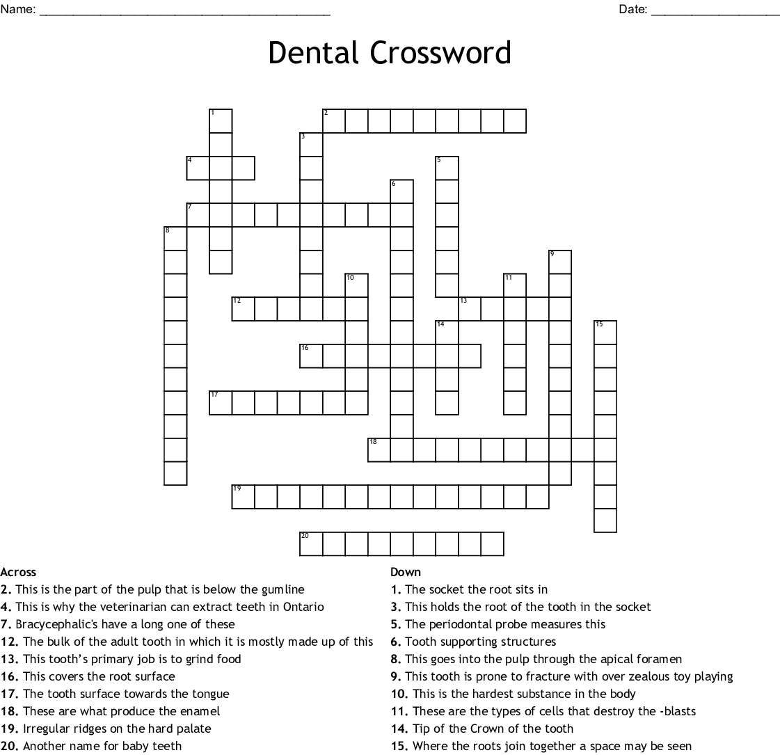 Dental Crossword