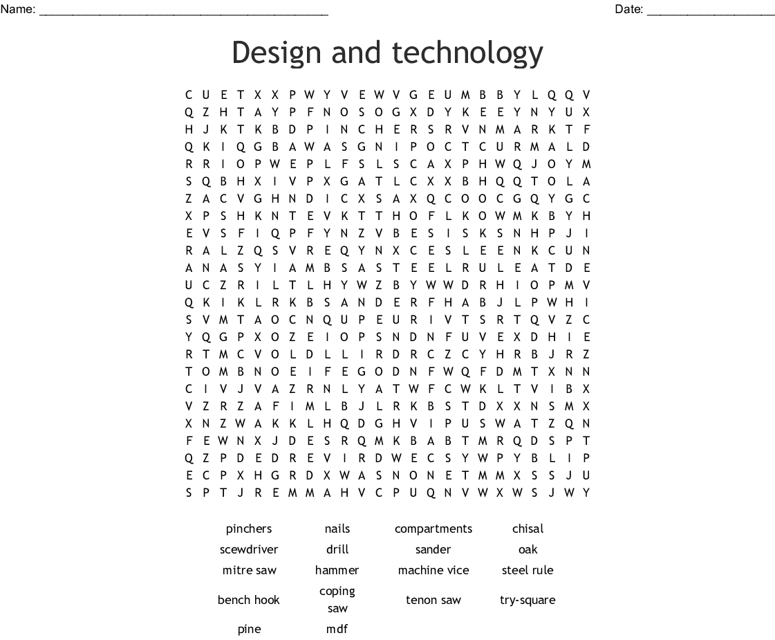 Design And Technology Word Search