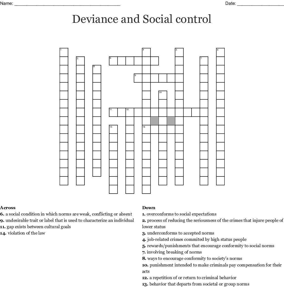 Deviance Crossword