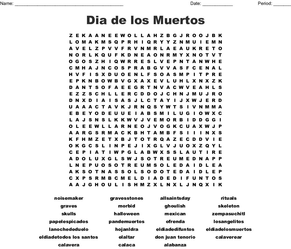 Dia De Los Muertos Worksheet Answers