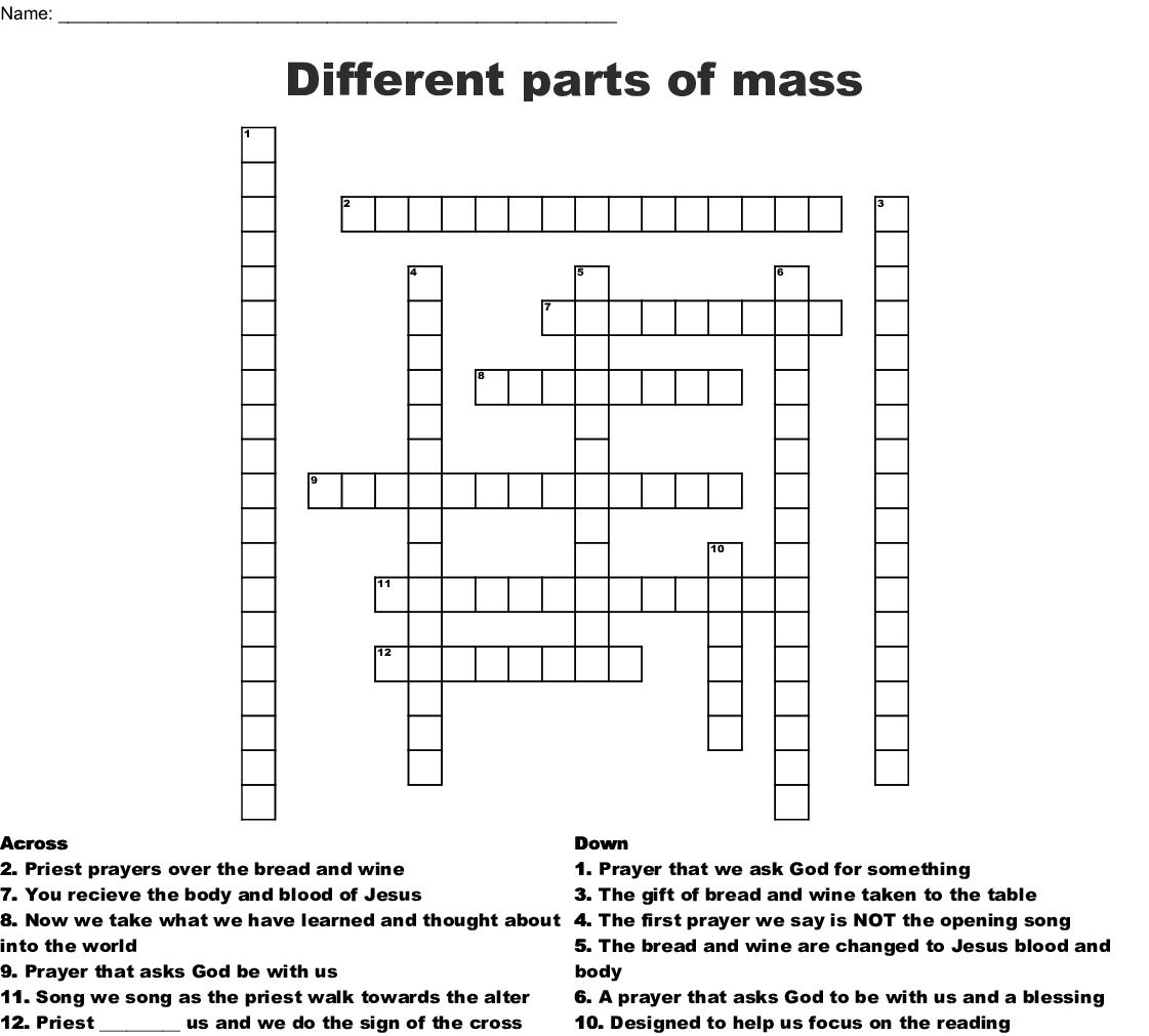 Parts Of The Catholic Mass In Order