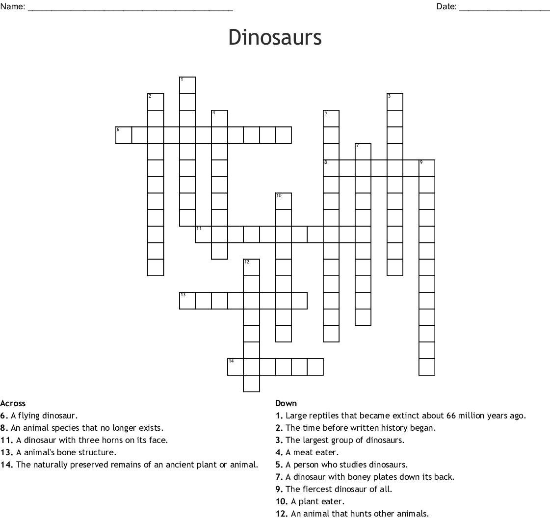 Dinosaur Crosswords