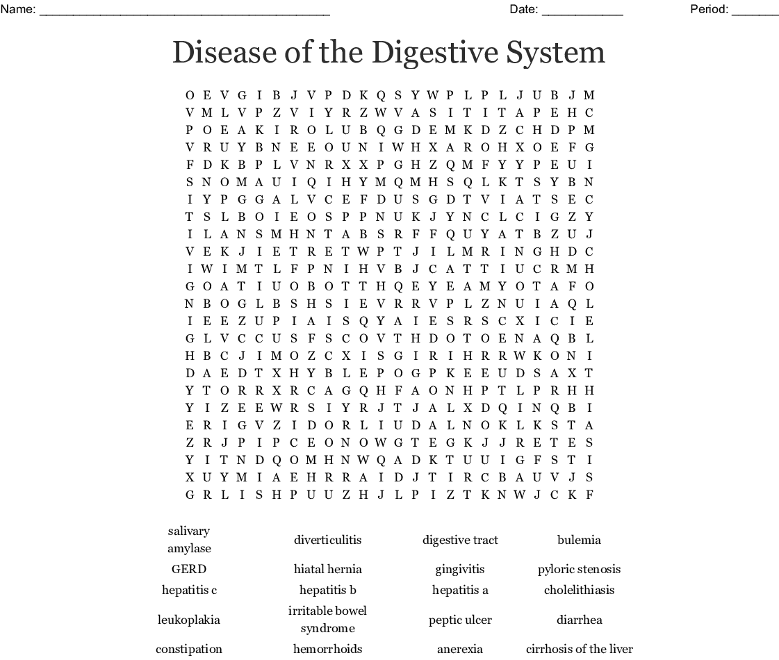 Disease Of The Digestive System Word Search
