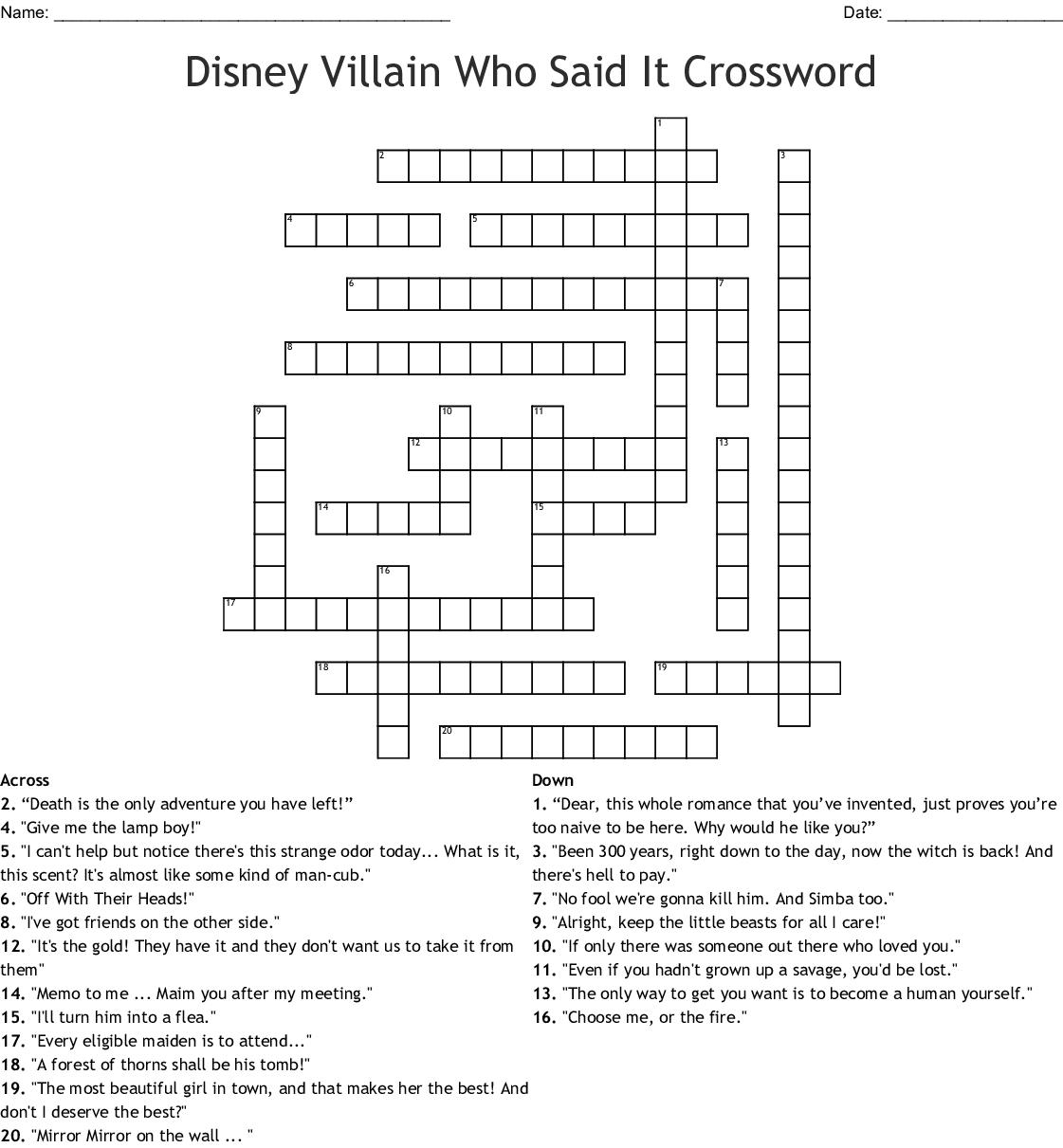 Disney Villains Word Search