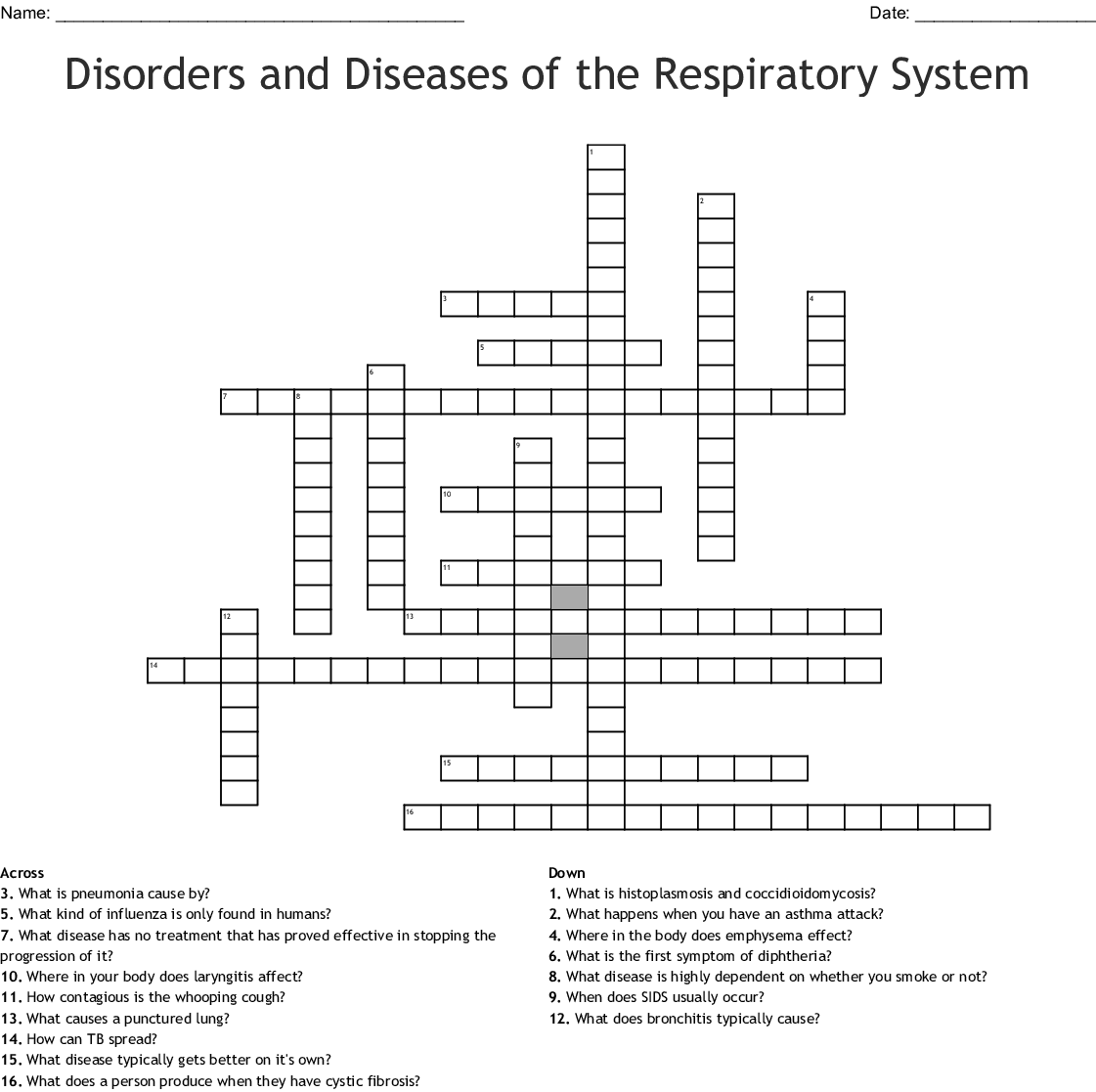 Asthma Crossword Puzzle