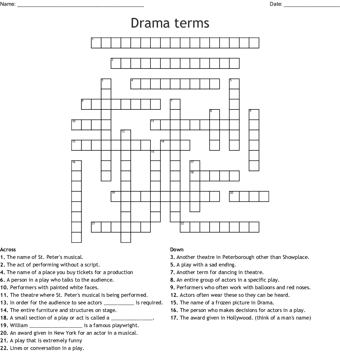 Drama Terms Worksheets