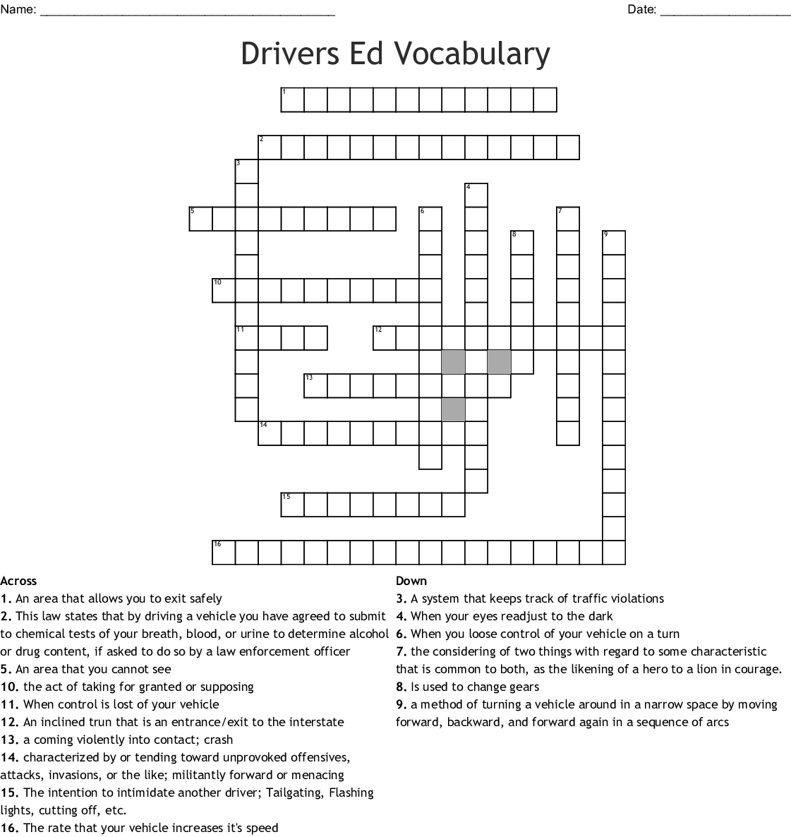 Drivers Ed Crossword Puzzle 2