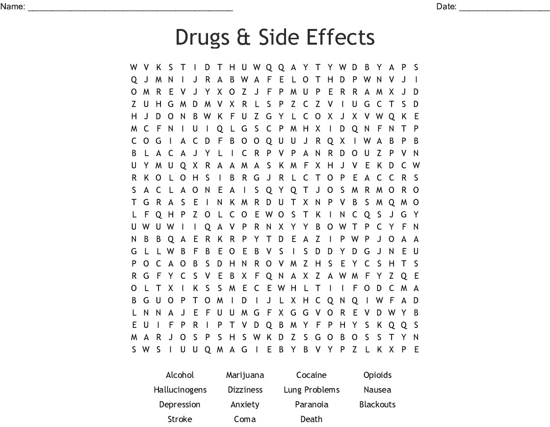 Drugs Amp Side Effects Word Search