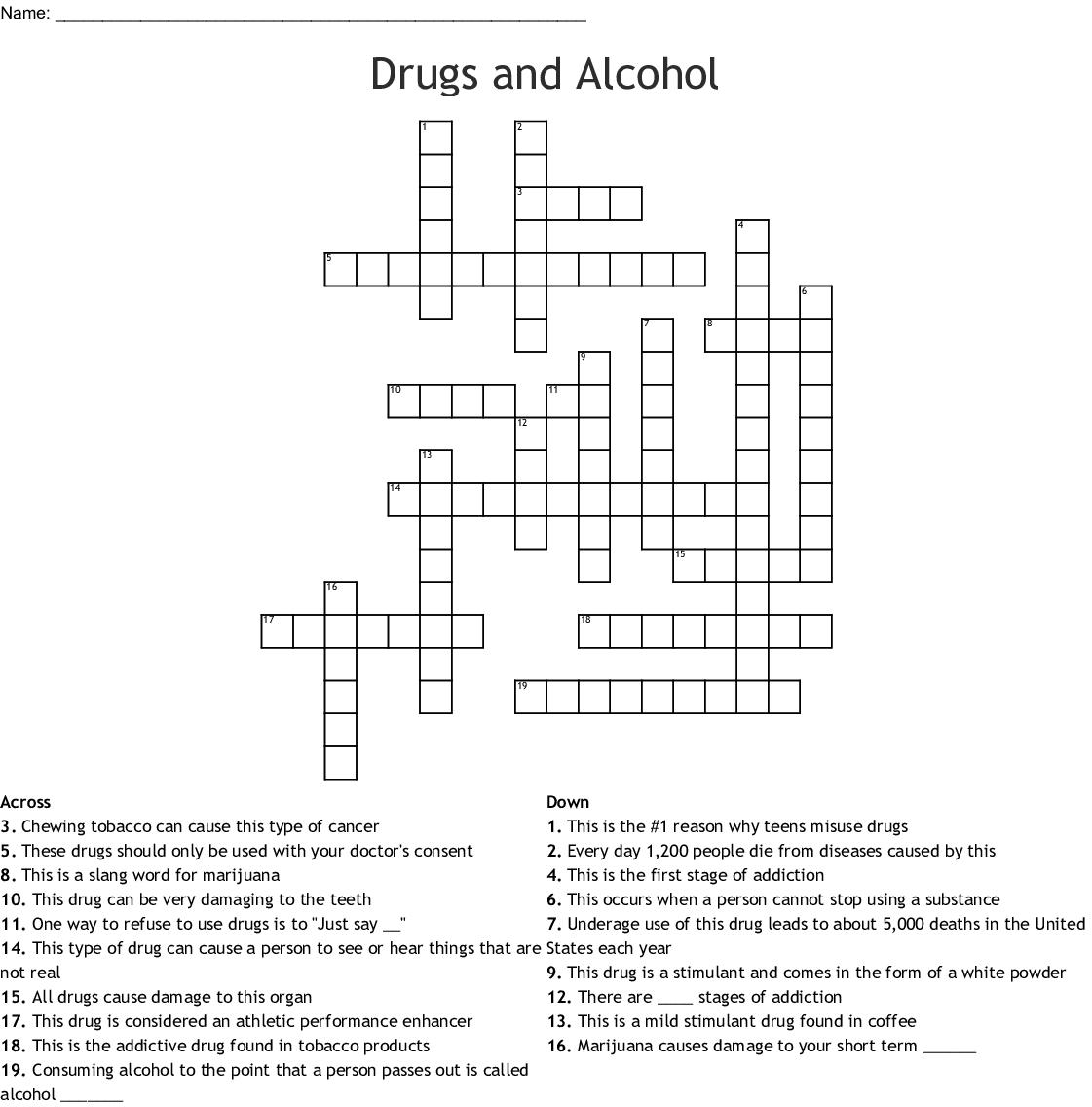 Addiction Amp Recovery Crossword
